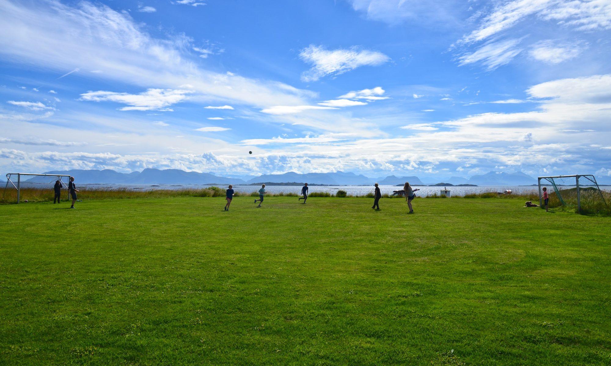 Playing football on Ona Island