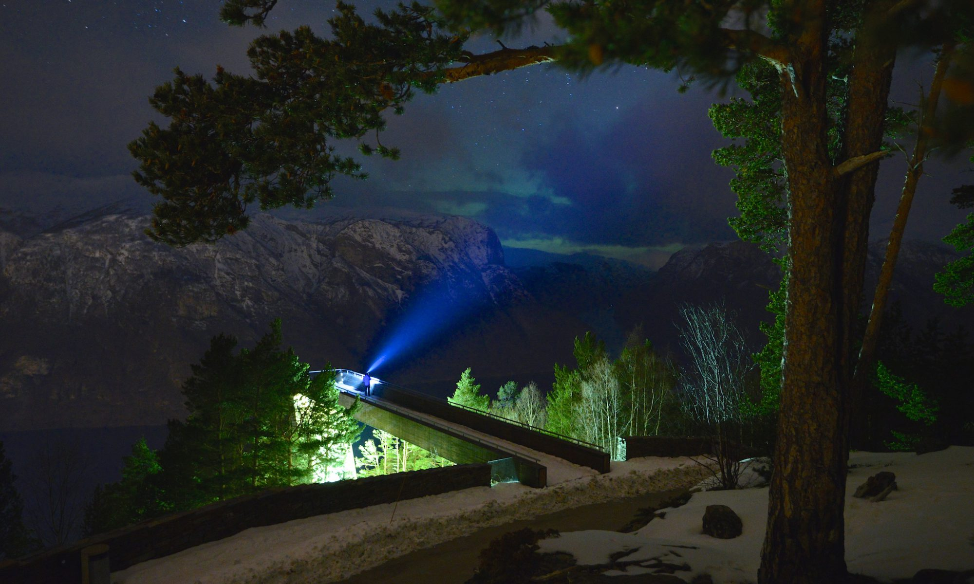 Northern Lights at Stegastein Lookout by the Aurlandsfjord. Sogn og Fjordane, Norway