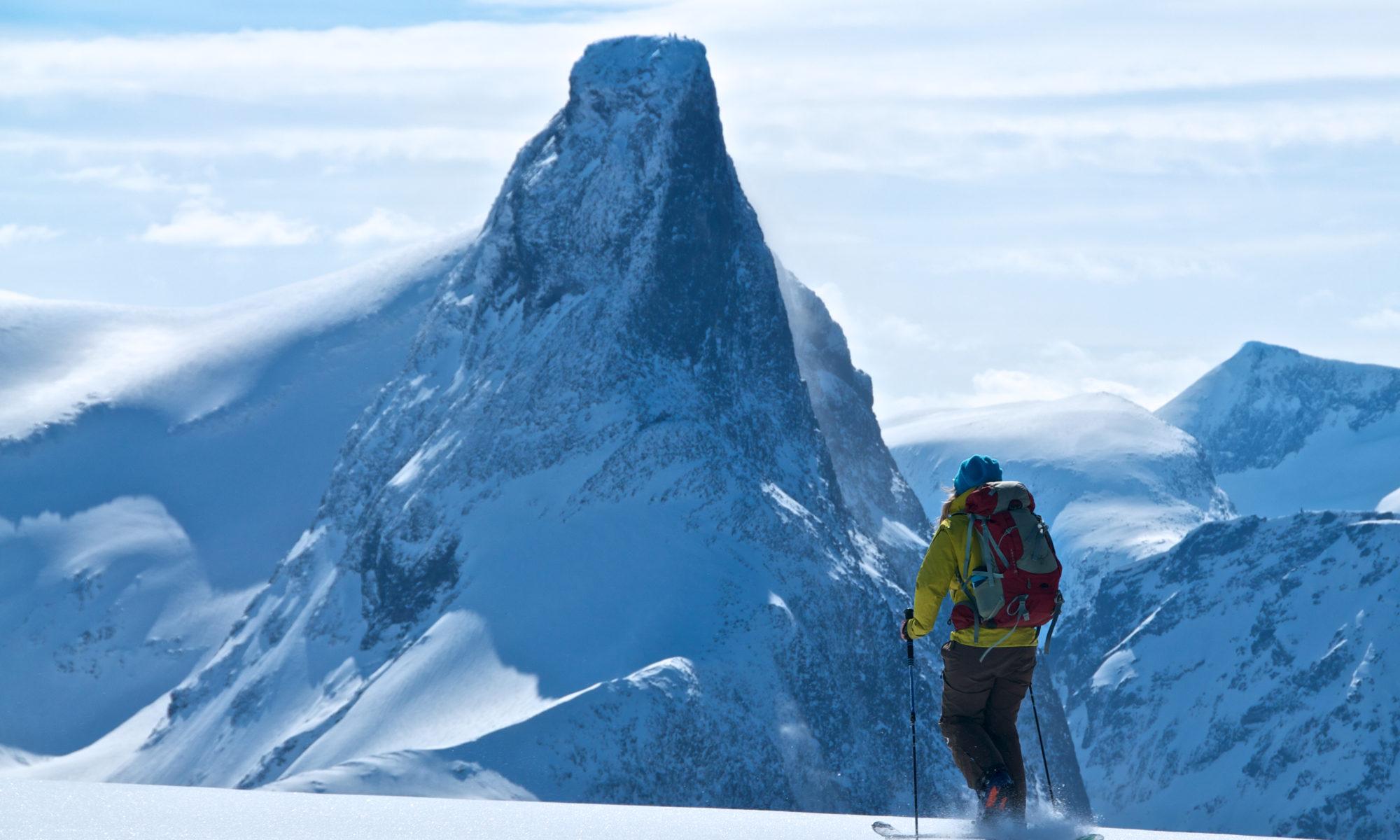 Skiing at Mt. Blånebba in Isfjorden, Romsdal