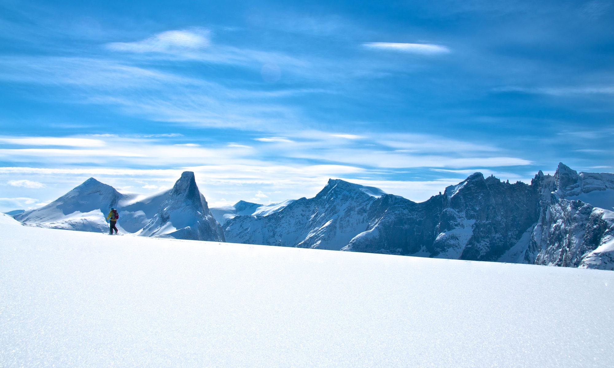Skiing on Romsdalseggen in Romsdal, Norway