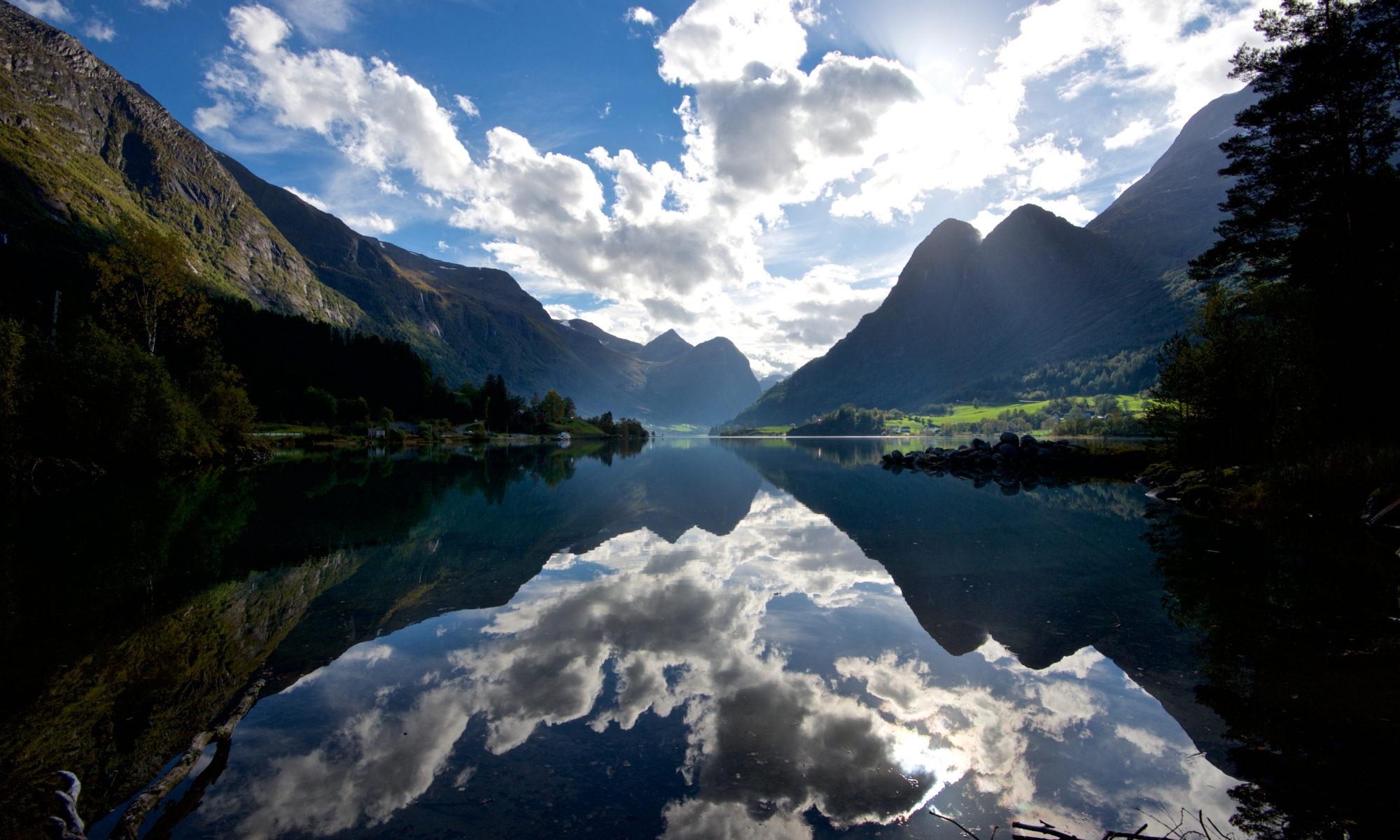 Lake Oldevatnet in Olden. Nordfjord, Norway.