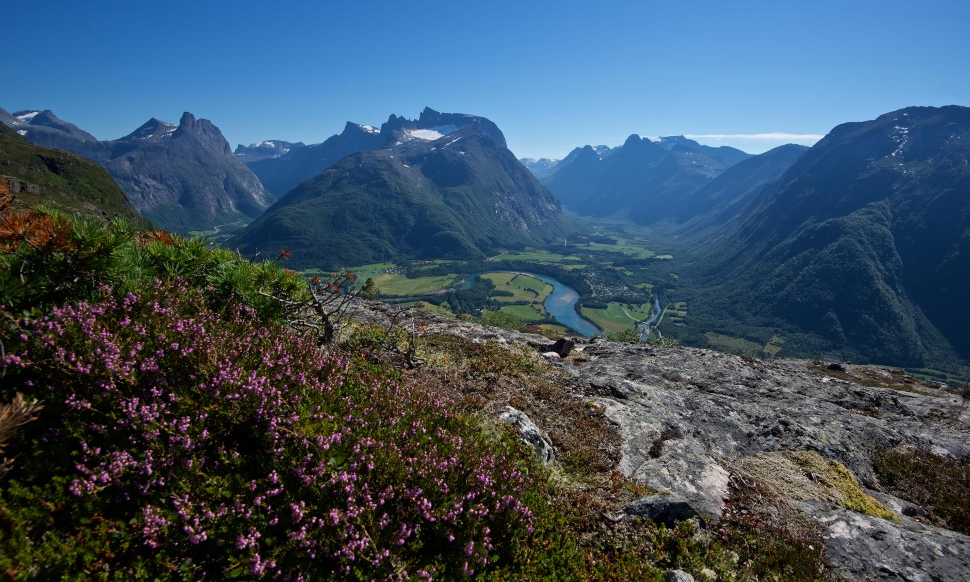 Hiking Romsdalseggen in Romsdal, Norway.
