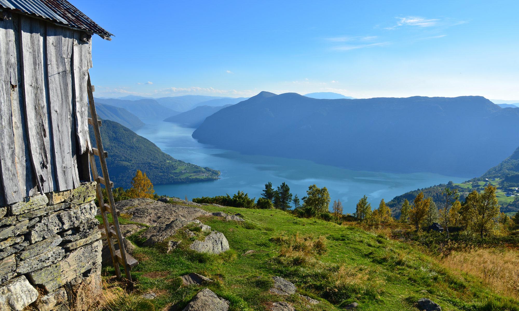 The Lustrafjord seen from Svarthiller at Molden. Luster, Norway