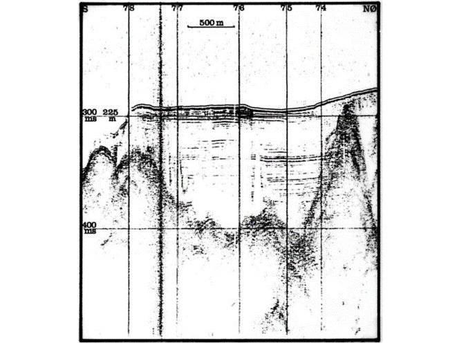 Seismic profile from the outer Granvinfjorden tributary fjord. The profile goes S-NE.