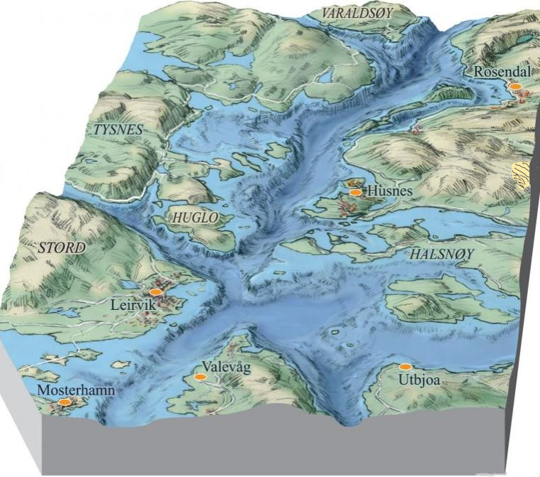 The bottom morphology of the outer parts of the Hardangerfjord (SW-NE view).