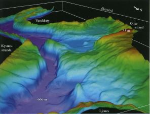 Multibeam echosounder view from Jondal to Varaldsøy (in the background) (view from NE to SW) showing the shape of the fjord bottom in the area.