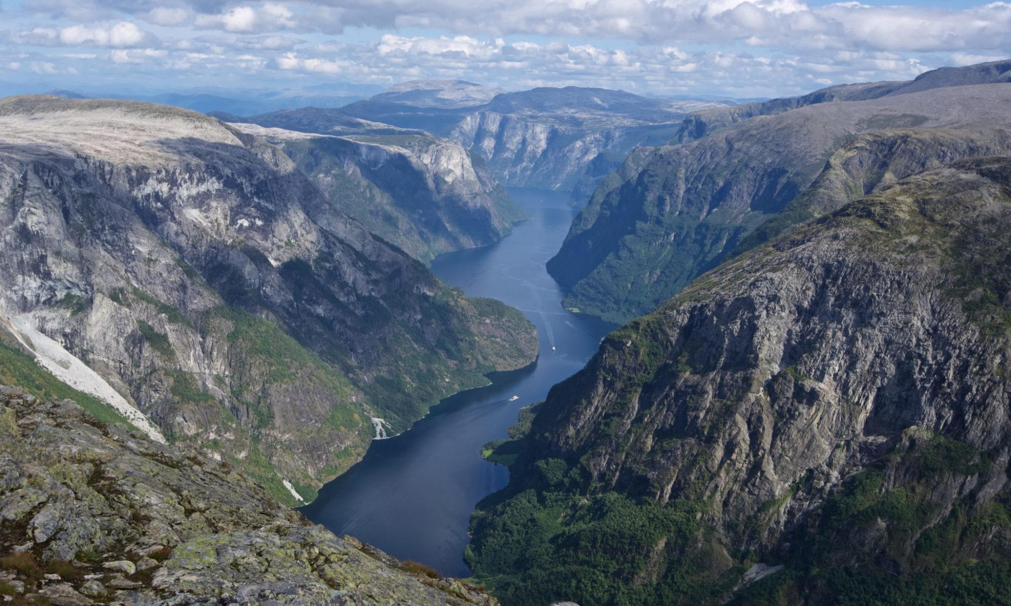 The Nærøyfjord in Sogn og Fjordane, Norway