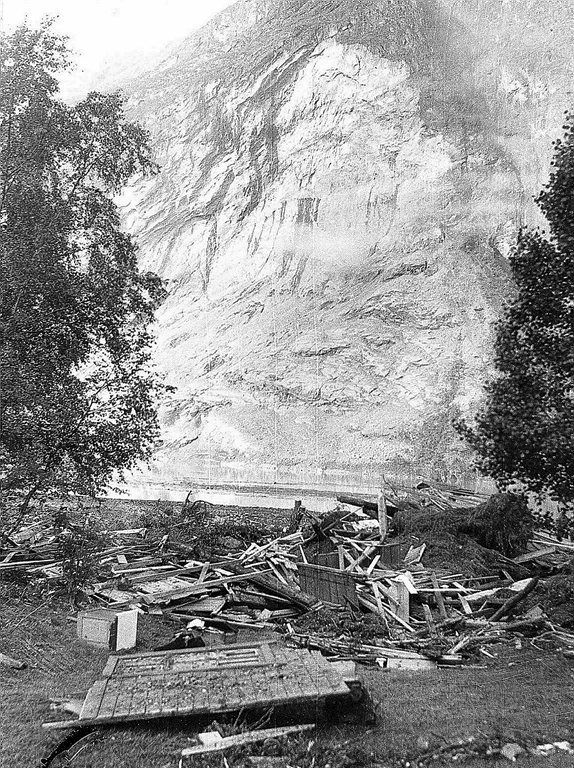 Ramnefjellet after the rock avalanche the 13. of September 1936.