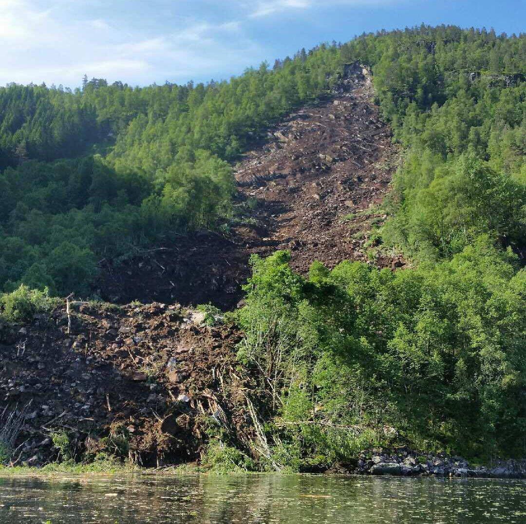 The landslide widened as it moved downwards.