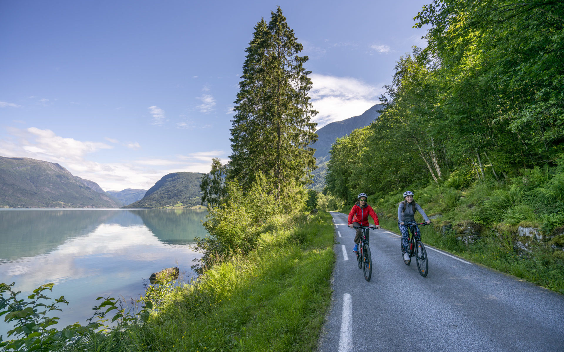 Cycling by the Lustrafjord in Luster, Norway. Photo: www.fjordcycling.no