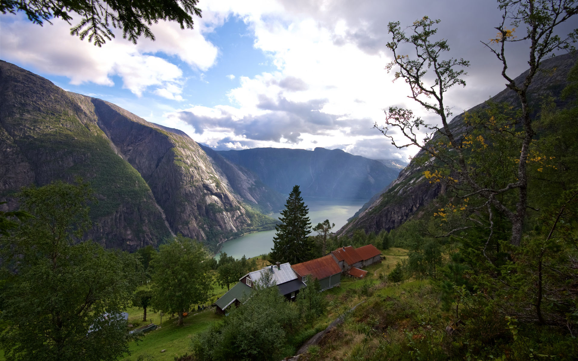 The Hardangerfjord in Norway seen from Kjeåsen Mountain Farm.