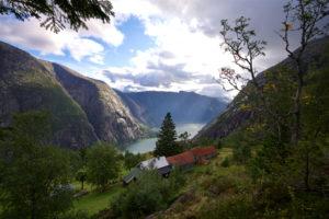 The Hardangerfjord in Norway seen from Kjeåsen Mountain Farm.
