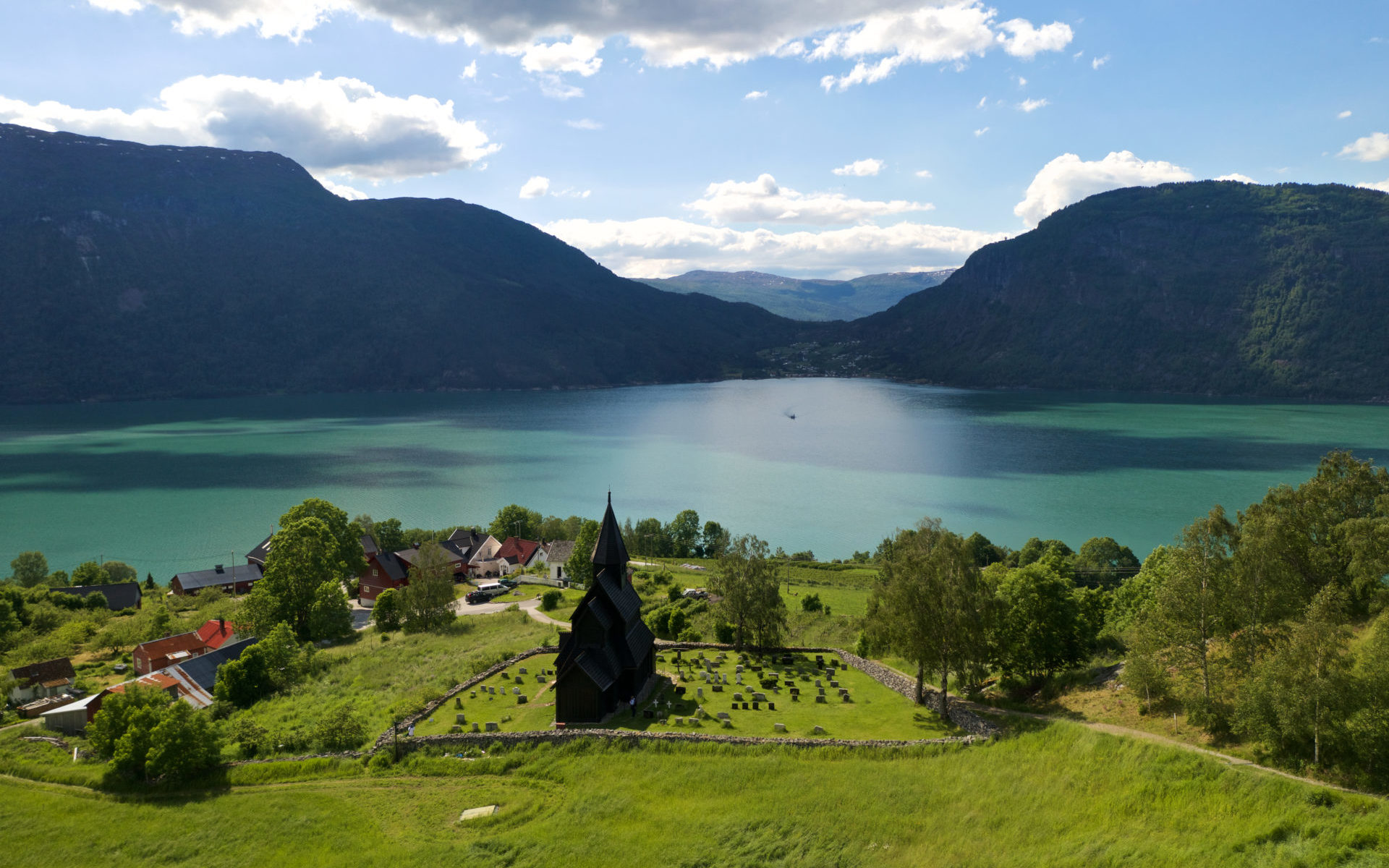 URNES STAVE CHURCH and the Lustrafjord in Luster, Norway