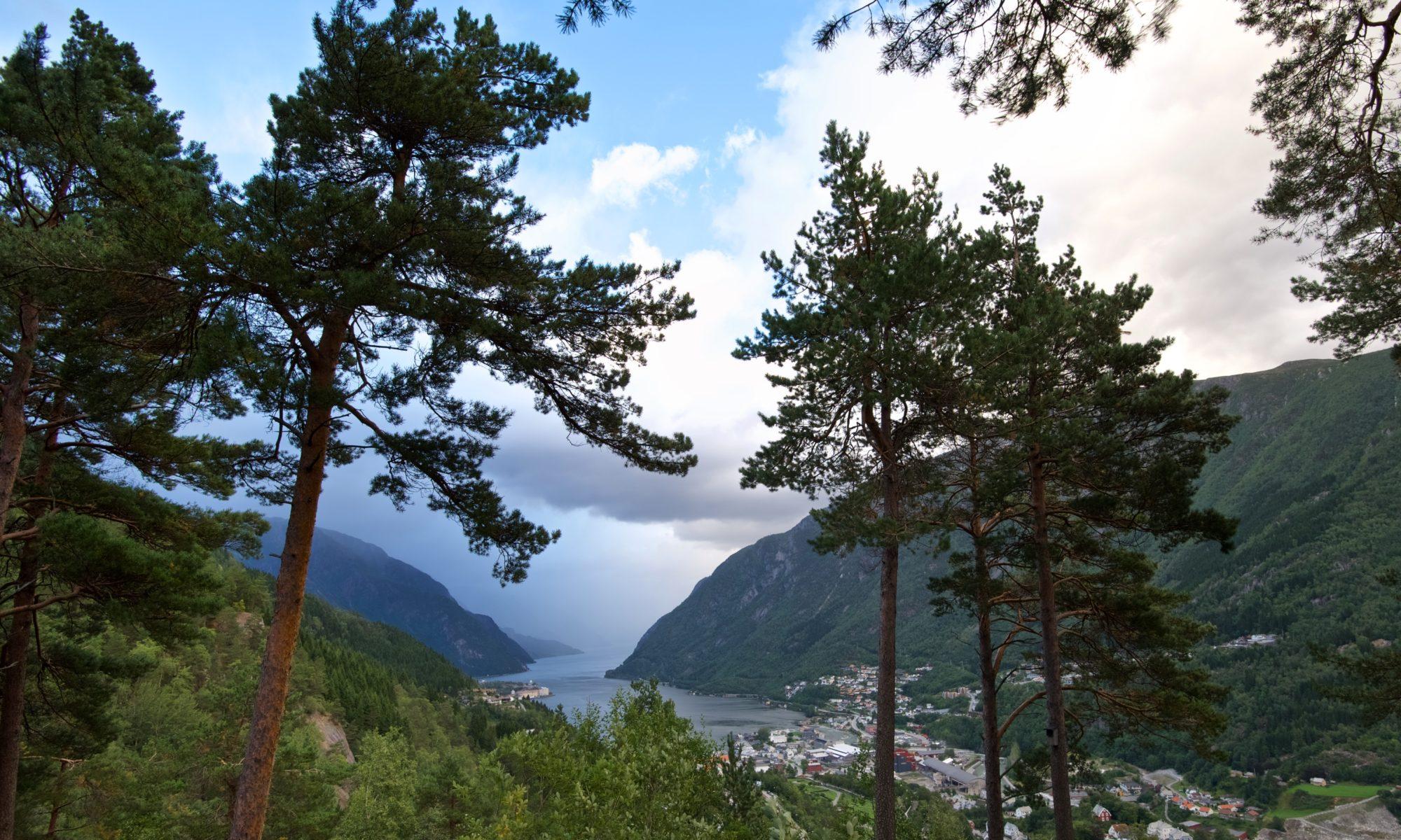 Odda and Sørfjorden in Hardanger, Norway