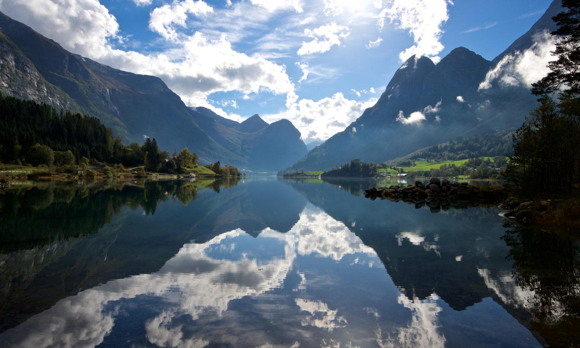 Lake Oldevatnet in Olden. Norfjord, Norway.