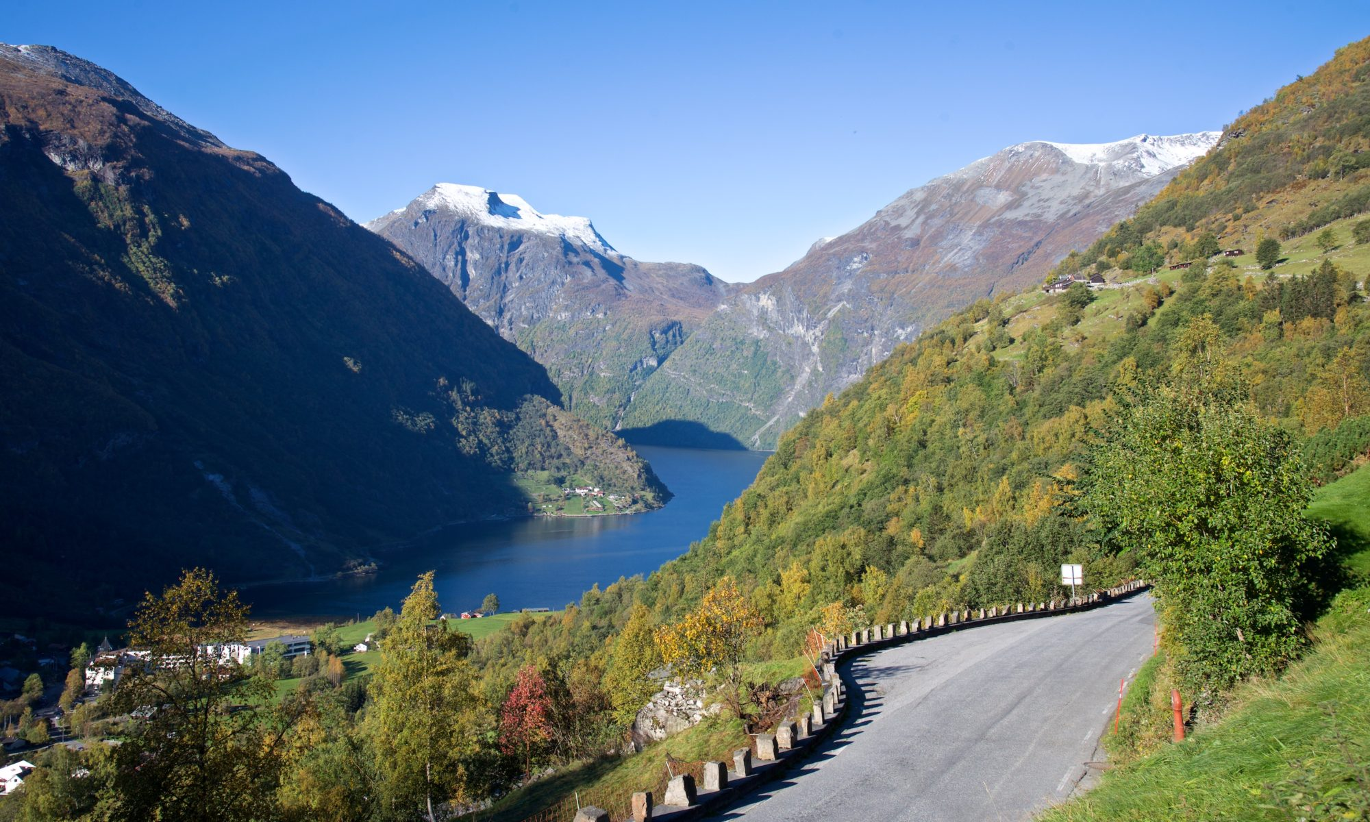 View from Vesterås towards Geiranger and the Geirangerfjord, Norway