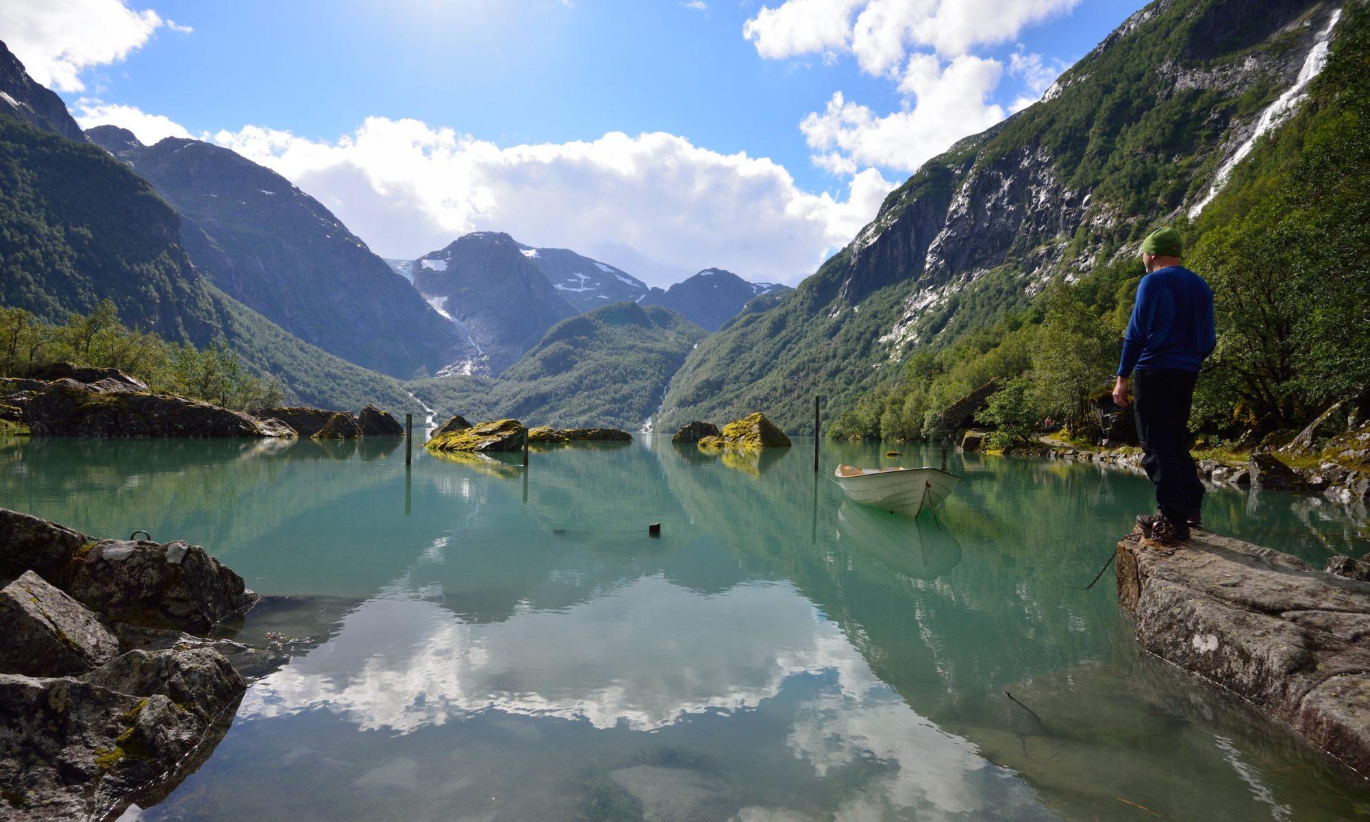 Lake Bondhusvatnet in Kvinnherad. Hardanger, Norway.