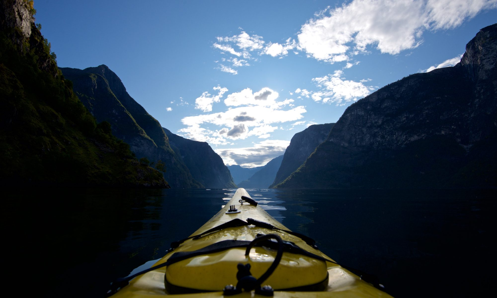Kayaking on the Aurlandsfjord, view towards the Nærøyfjord