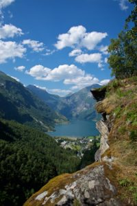 FJORDS NORWAY - Geiranger and the Geirangerfjord seen from Flydalsjuvet Viewpoint