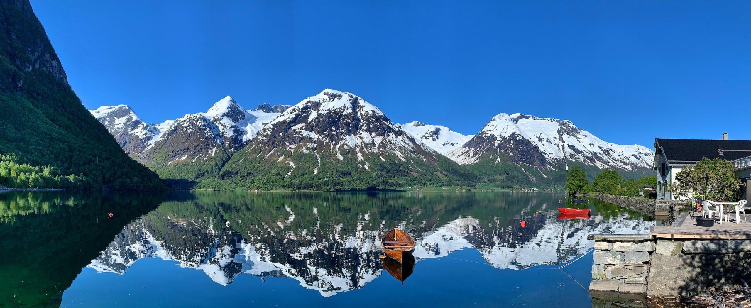 FJORDS NORWAY - Hjelle in Oppstryn, towards Lake Oppstrynsvatnet. Nordfjord in Vestland, Norway.