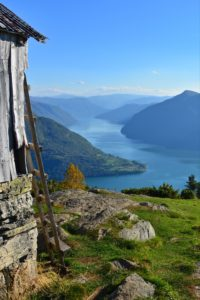 FJORDS NORWAY - View from Svarthiller towards Urnes and the Lustrafjord.