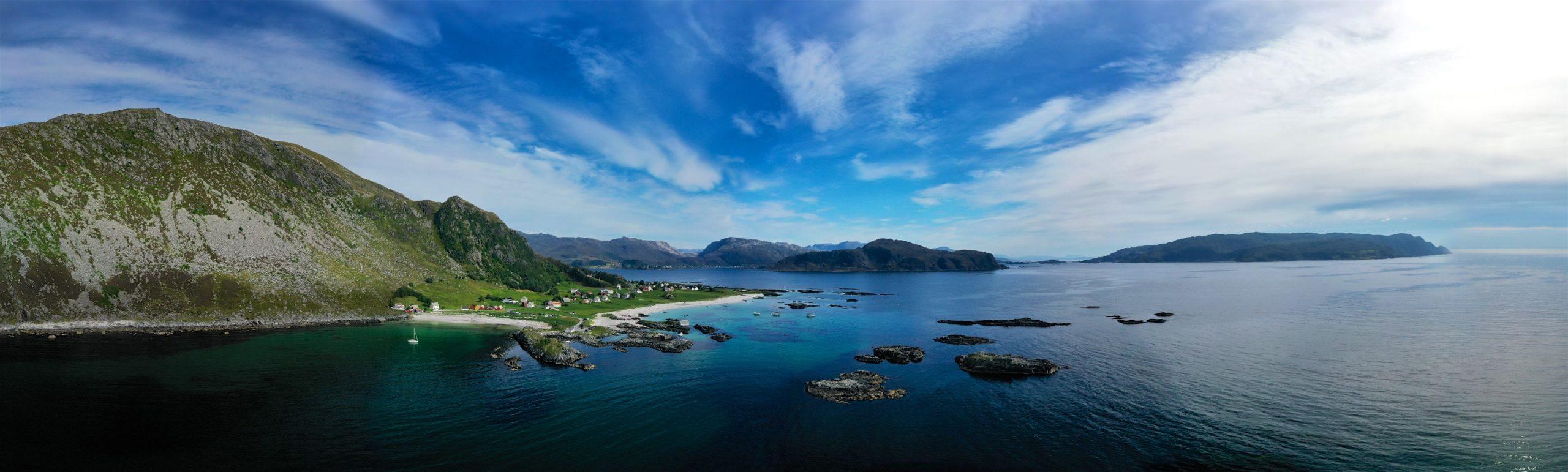 FJORDS NORWAY - Panorama Picture of Grotlesanden at Bremangerlandet in Nordfjord, Norway