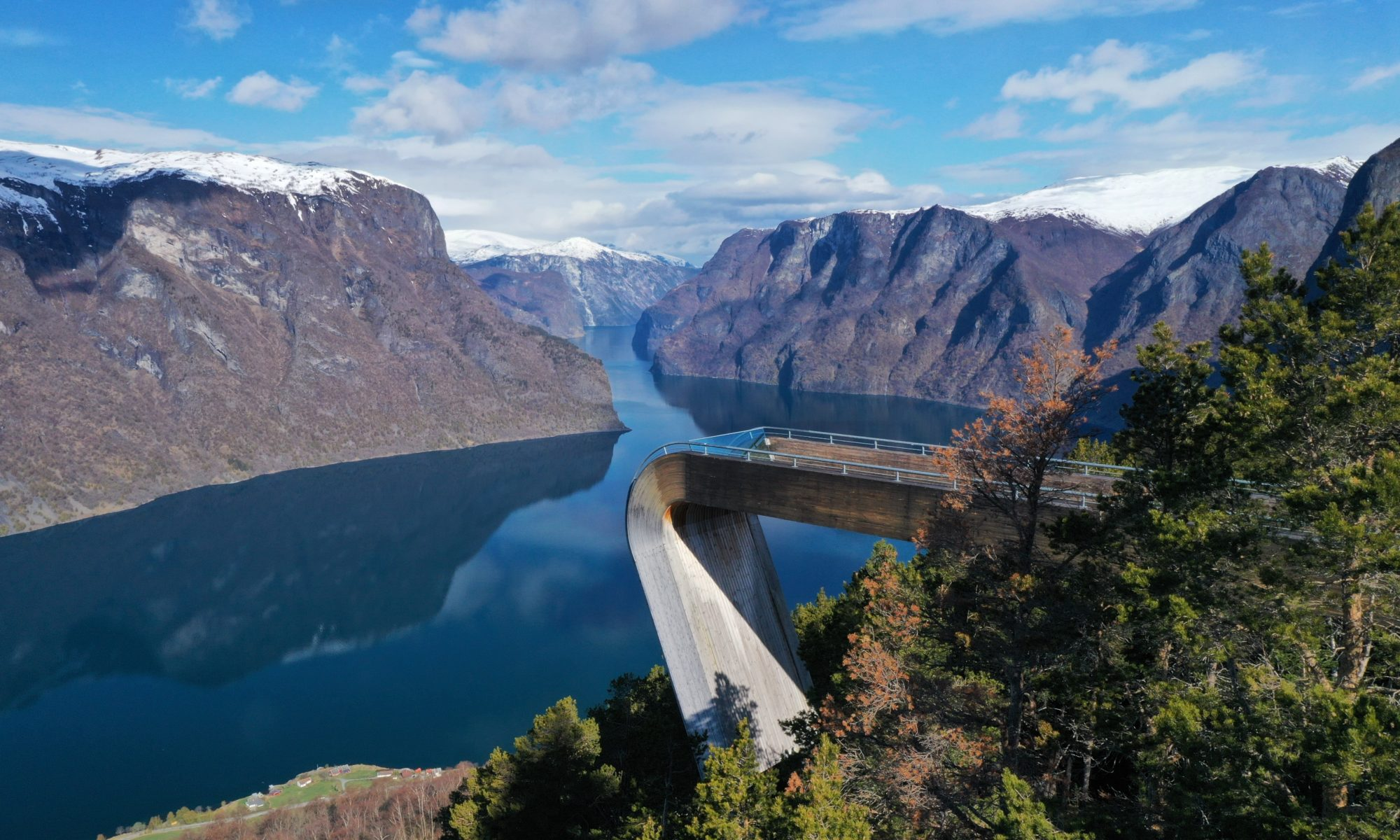 FJORDS NORWAY - Stegastein Viewpoint above Aurland and the Aurlandsfjord