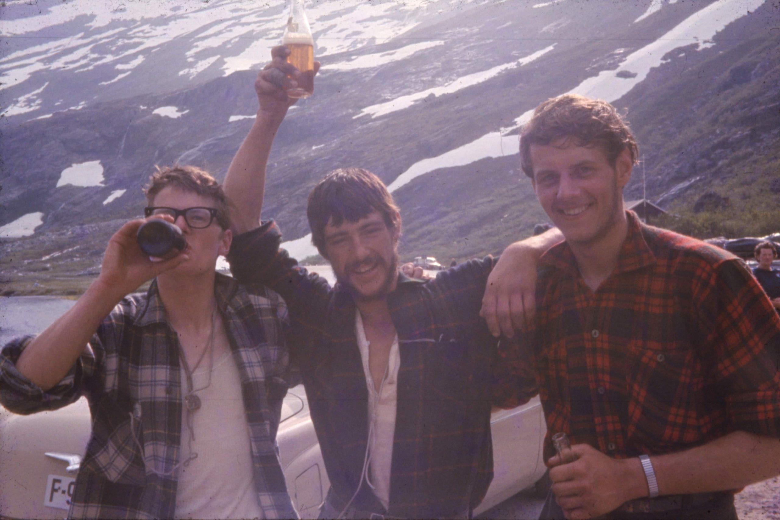 Bill, Tony and John at Trollstigen after they climbed the Troll Wall. Photo: The Tony Howard Collection.