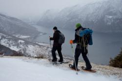 Snowshoe hike above the Aurlandsfjord