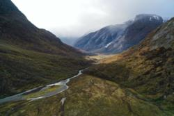 The trail towards Austerdalsbreen Glacier. View from drone towards Tungestølen.