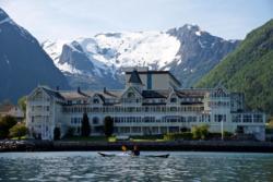 View from the kayak towards Balestrand and Hotel Kviknes