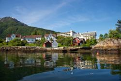 View from the kayak towards Balestrand