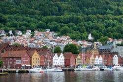 Bergen, the Gateway to the Fjords. Bryggen and Fjellsiden.