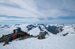 Summer Skiing at Trollstigen, to Mt. Alnestinden. View from the summit towards Sunnmøre. Romsdal, Norway.