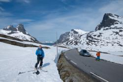 Summer Skiing at Trollstigen, to Mt. Alnestinden. Back to the road. Romsdal, Norway.