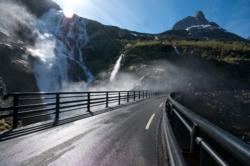 Trollstigen Mountain Road and Stigfossen Waterfall in Romsdal, Norway.