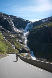 Trollstigen Mountain Road and Stigfossen Waterfall in Romsdal, Norway.