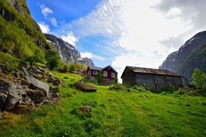 Farm in Gudvangen, the innermost part of the Nærøyfjord.