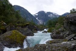 Bondhuselva River by the trail towards Lake Bondhusvatnet.