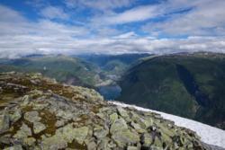 Hike to Mt Bøttejuvet, view towards Lake Årdalsvatnet and Øvre Årdal.