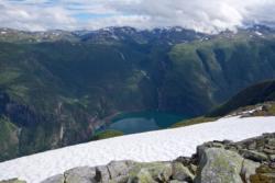 Hike to Mt Bøttejuvet, view down to Lake Årdalsvatnet.