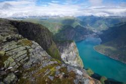 View from Mt Bøttejuvet towards Lake Årdalsvatnet and Øvre Årdal.