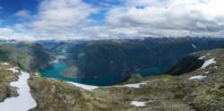 Panorama View from Mt Bøttejuvet towards Lake Årdalsvatnet, Øvre Årdal and the Jotunheimen Mountains.