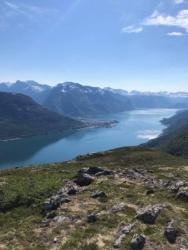 View from Brevikskaret towards Åndalsnes and the Romsdalsfjord.