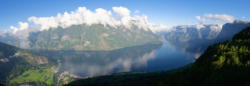 View from Stegastein lookout towards Aurland and the Aurlandsfjord.