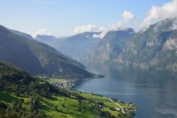 The Aurlandsfjellet National Tourist Route, view towards the Aurland and the Aurlandsfjord.