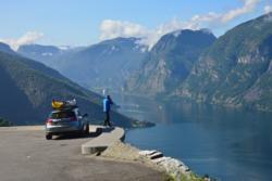 The Aurlandsfjellet National Tourist Route, view towards the Aurlandsfjord.