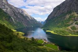 The UNESCO Protected Nærøyfjord. View from the path towards Rimstigen.