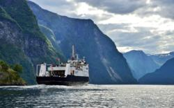Ferry sailing into the UNESCO Protected Nærøyfjord.