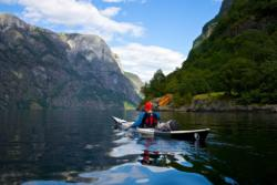 Kayaking out the UNESCO Protected Nærøyfjord.